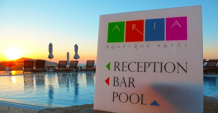 """Aria boutique Hotel"" exterior sign-label design"