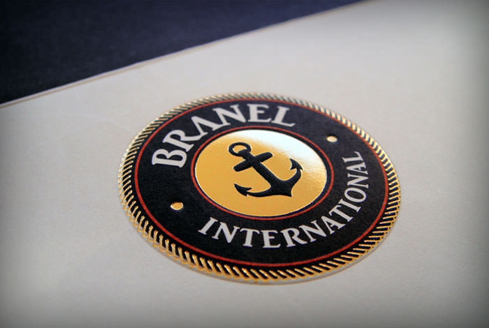 """Branel International"" logo on letterhead - embossed and gold foil stamping"