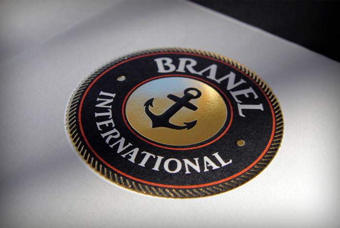 """Branel International"" logo on mail folder - embossed and gold foil stamping"