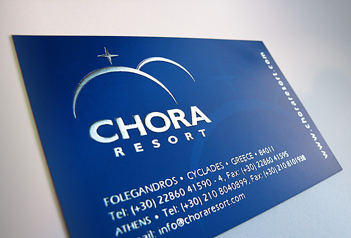 """Chora Resort & Spa"" business card - front side"