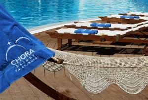 """""""Chora Resort & Spa""""embroidered logo on pool towels"""