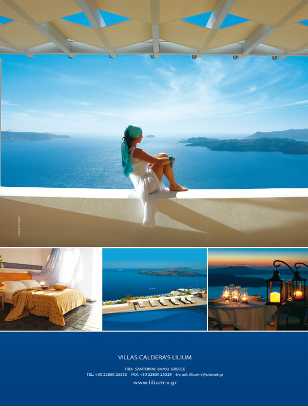 "Lilium Villas Santorini - advertising design for ""BLUE"" magazine"