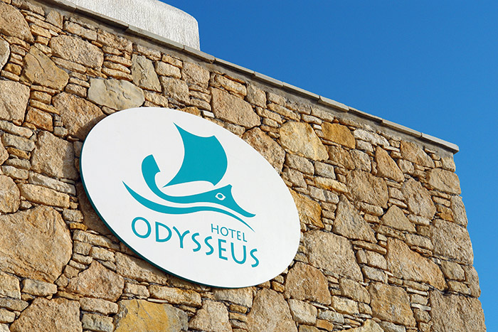 ODYSSEUS HOTEL label-sign design and construction
