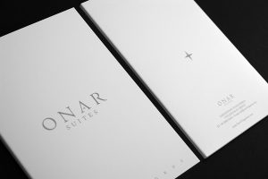 ONAR SUITES Folegnadros, room folder design and print