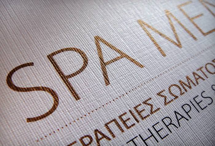 """Olive Tree Spa"" - spa menu design - detail"