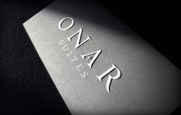 """Onar Suites"" business card - front side"