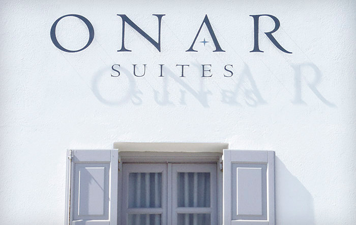 """Onar Suites"" logo on building's frontage"