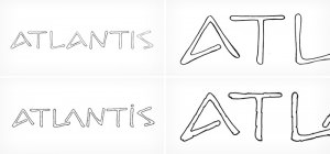 """Atlantis Jewels"" handmade drafts - font design"