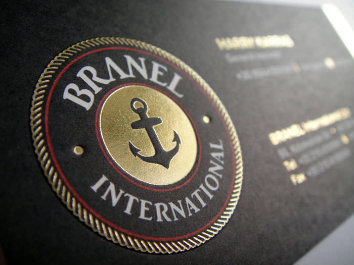"""Branel International"" business card's logo - embossed and gold foil stamping"
