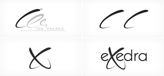 """Exedra Ios"" logo design process"