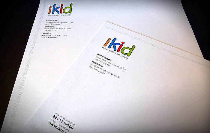 """iKid Centers"" envelope & stationery"