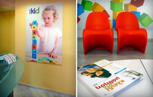"""iKid Centers"" interior - creative wall poster - issues of newsletters"