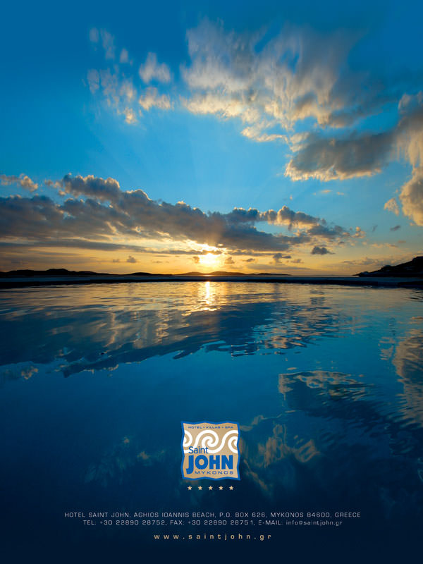 Saint John Mykonos - BLUE magazine - print advertising design