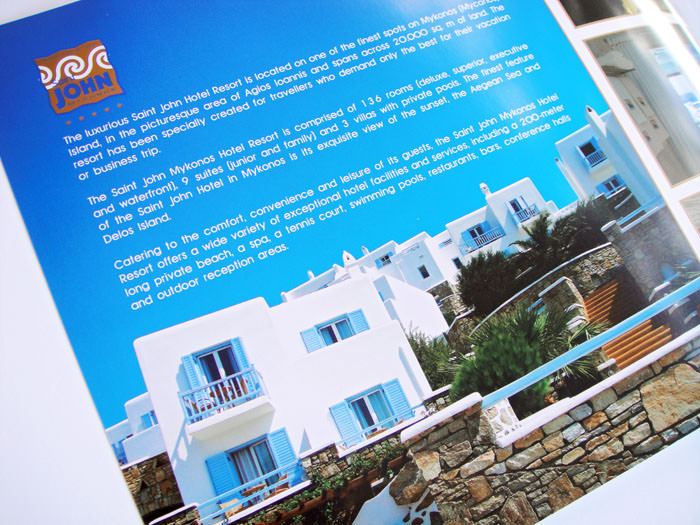 """Saint John Mykonos"" - Formal brochure design - Inset directory"