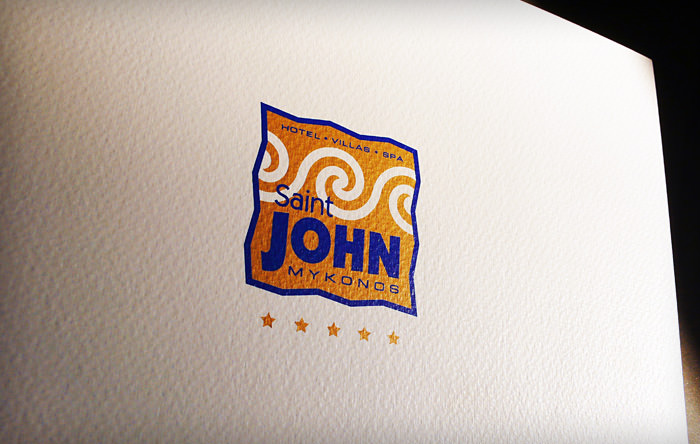 """Saint John Mykonos"" formal brochure design - cover"