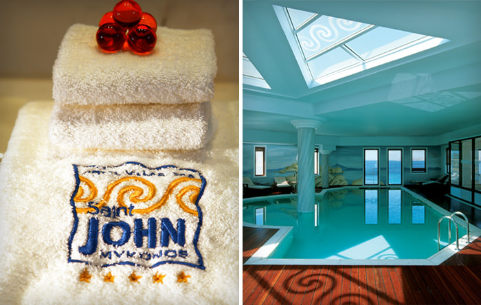 """Saint John Mykonos"" embroidered logo on a towel & the spa area"