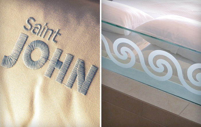 """Saint John Mykonos"" embroidered logo on a linen & a detail in a room"