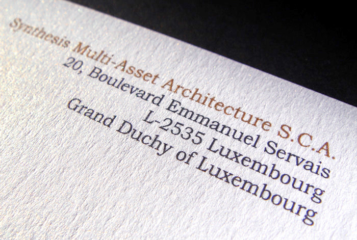 """Synthesis"" business card - back side - detail"