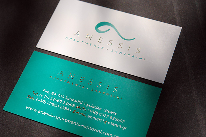 ANESSIS APARTMENTS Santorini business cards design and print