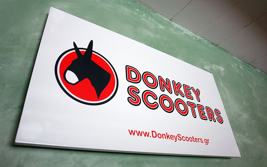 Donkey Scooters label - sign design