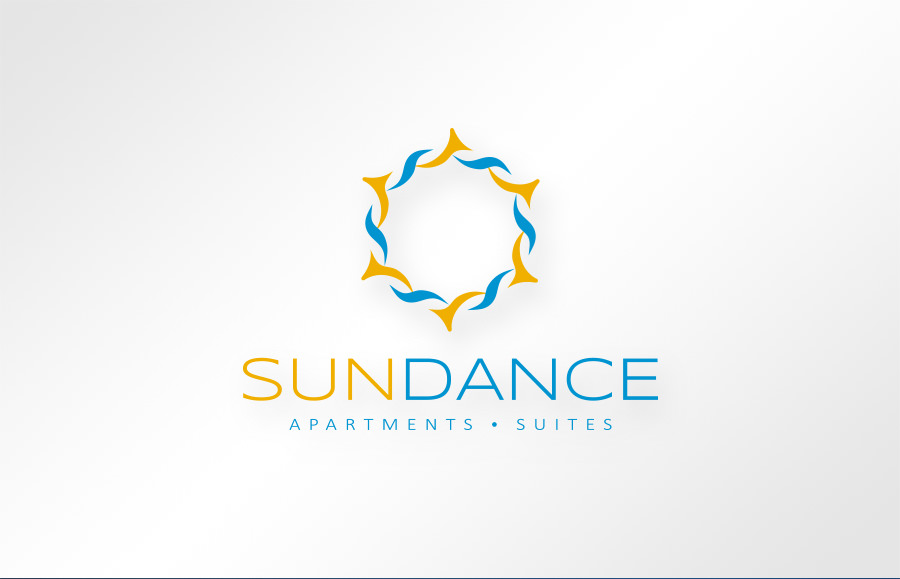 SUNDANCE Apartments & Suites logo design