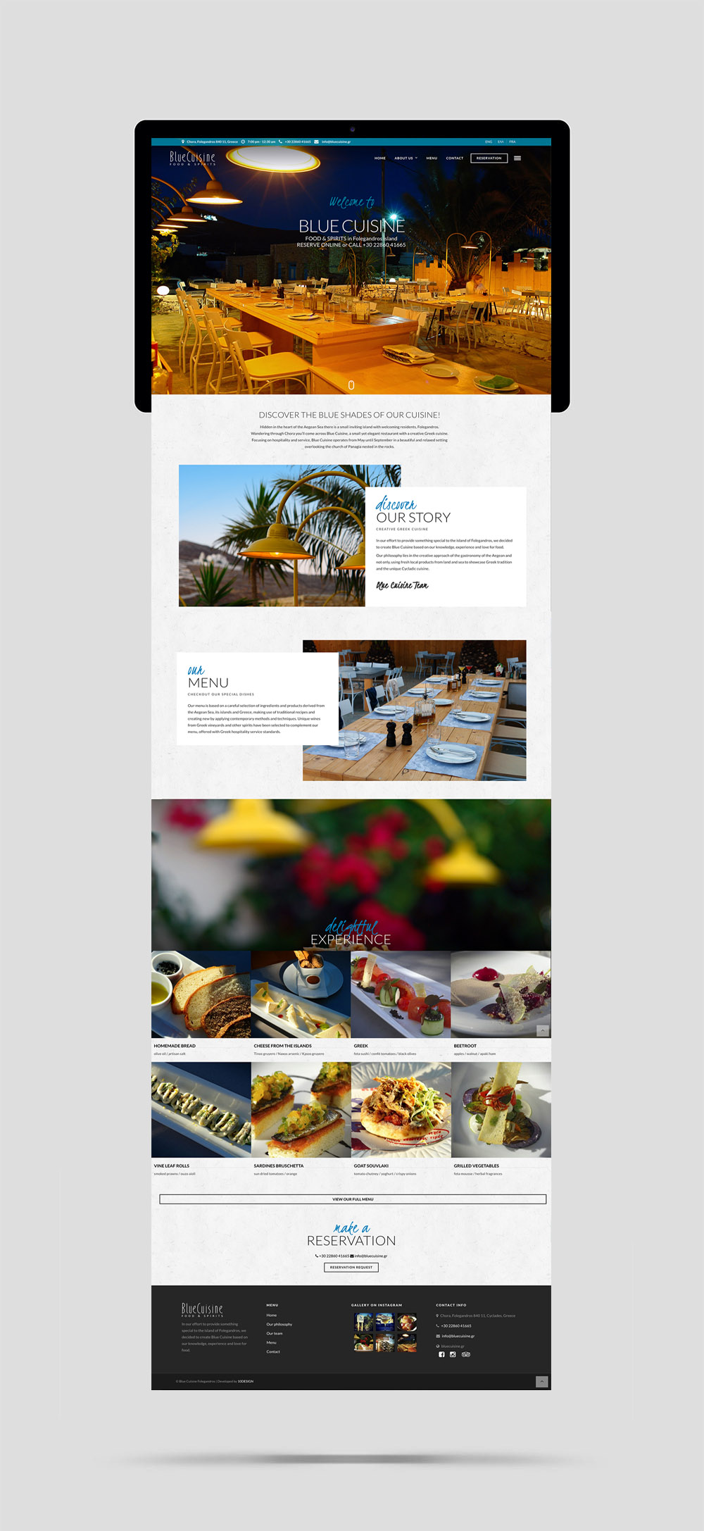 Blue Cuisine Restaurant website design and construction